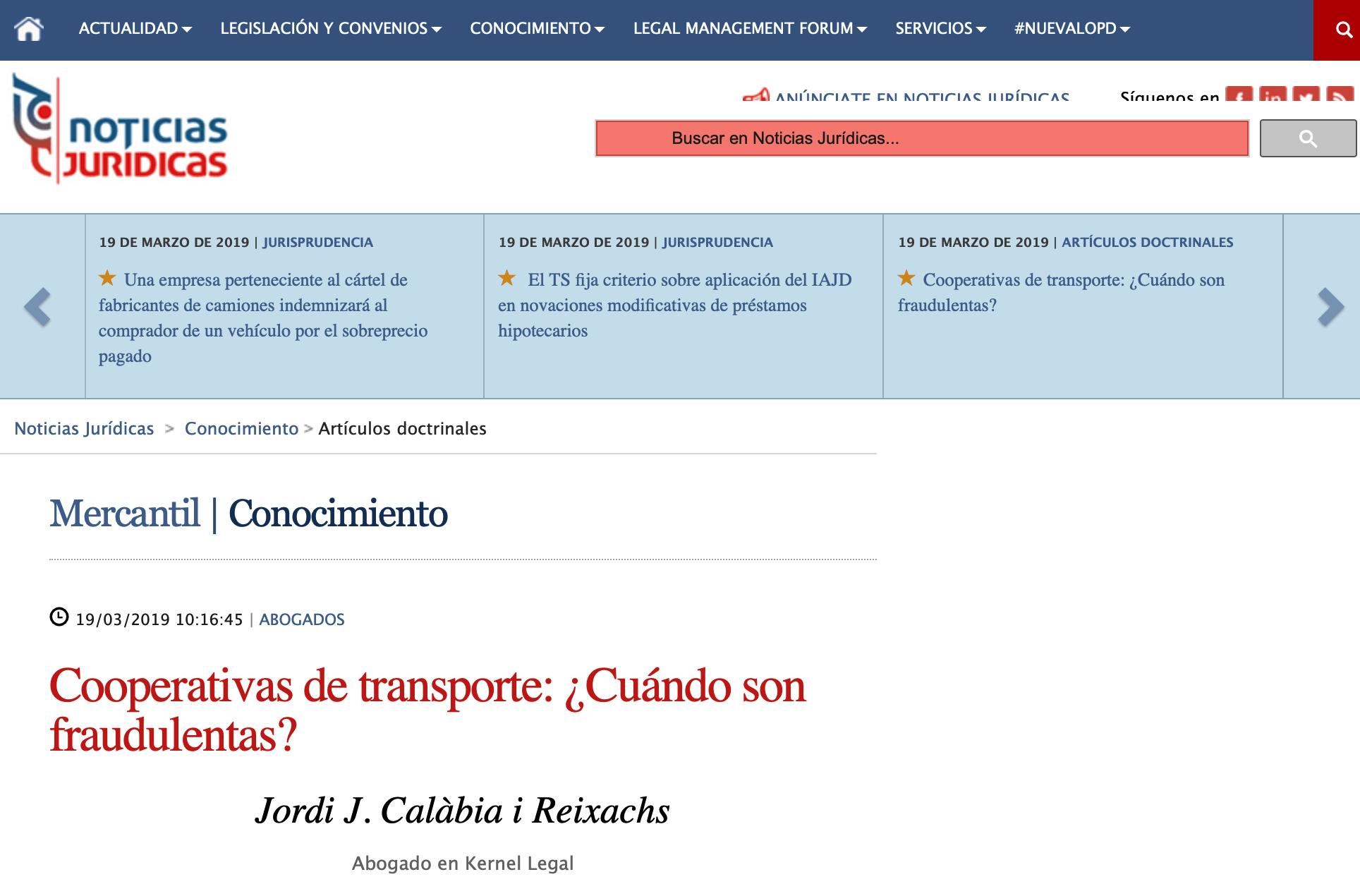 Jordi Calabia Kernel Legal cooperativas transporte Noticias Jurídicas